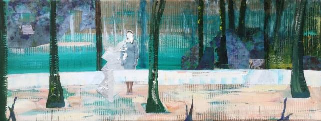 Cardboard, acrylic paint, fabric, newspaper 50 x 180 cm