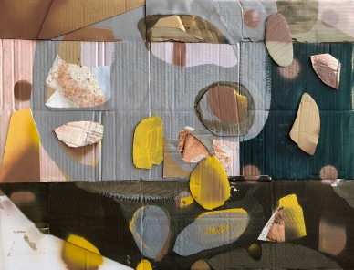 Composition with acryl and photo on cardboard. 50x70 cm. August Robin Peters, oktober 2018
