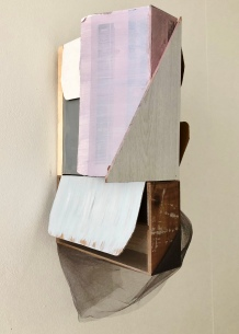 Space in a box 1, wood, cardboard, acryl and tule, 60x30x15cm, August Robin Peters, september 2018
