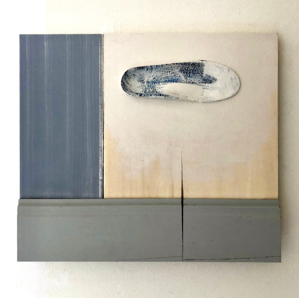 Cloud, acryl on wooden panel and sole, 50x65x5cm, August Robin Peters, oktober 2018